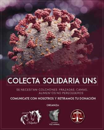 """""""Colecta Solidaria UNS"""" destinada a colaborar con los más vulnerables"""